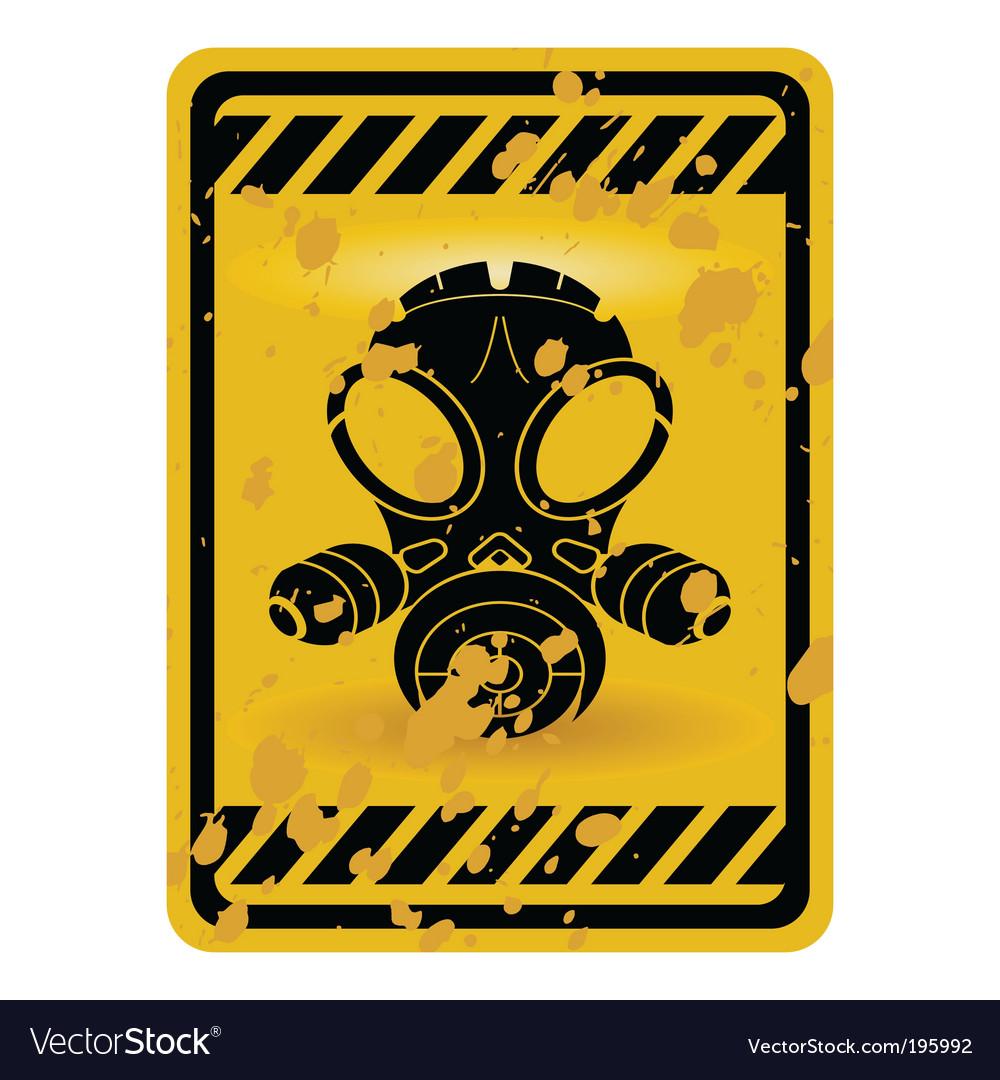 Gas mask warning sign Vector Image
