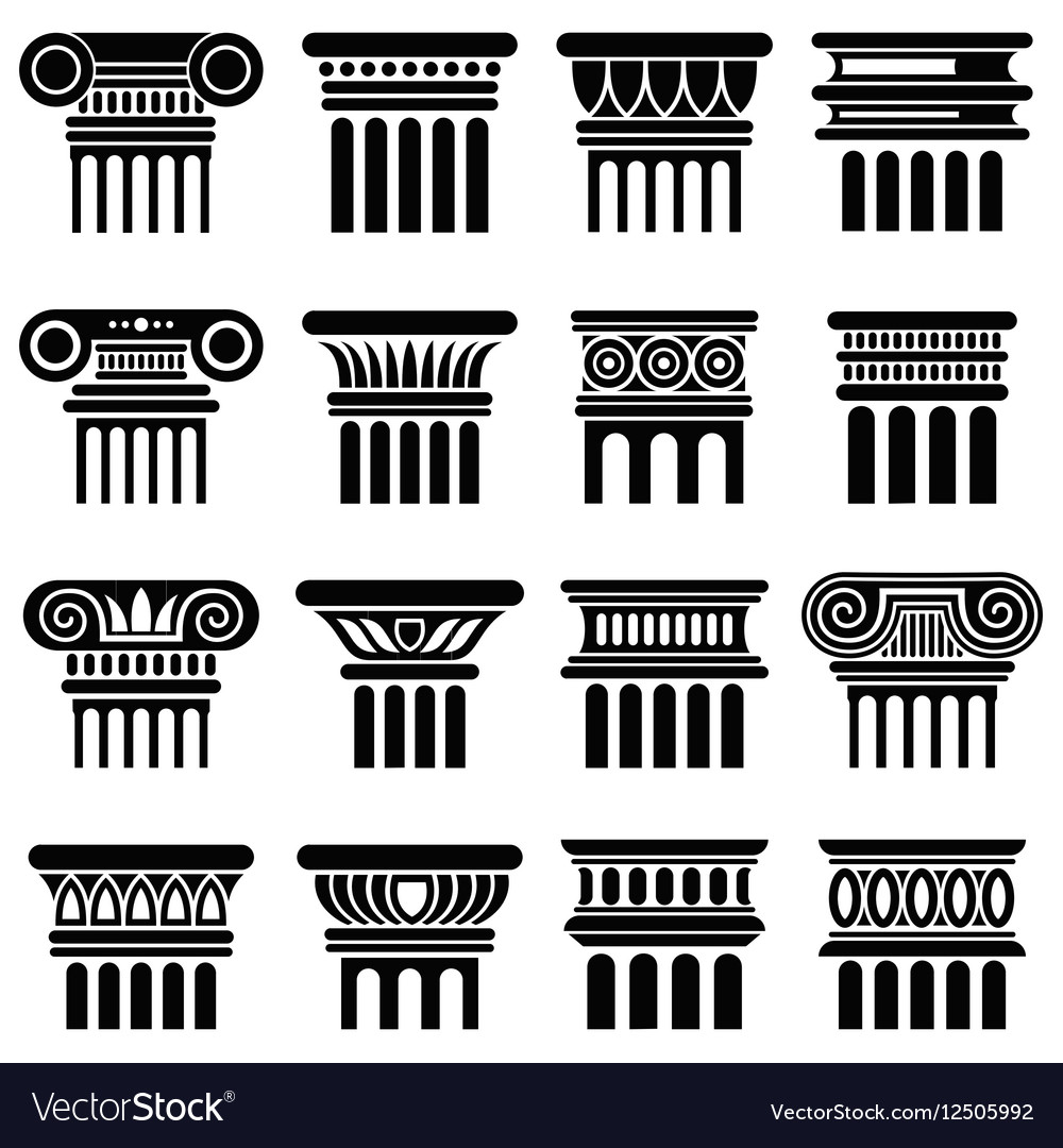 Ancient rome architecture column icons vector image