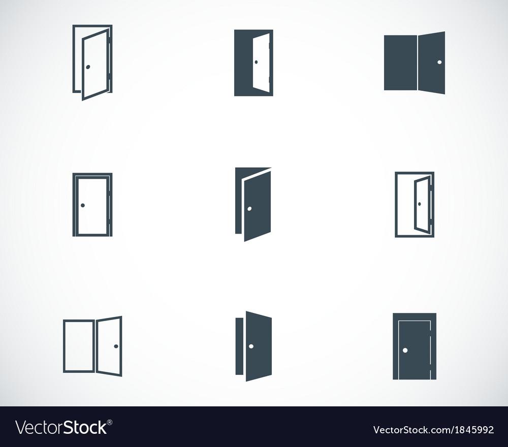 Black door icons set vector image  sc 1 st  VectorStock & Black door icons set Royalty Free Vector Image