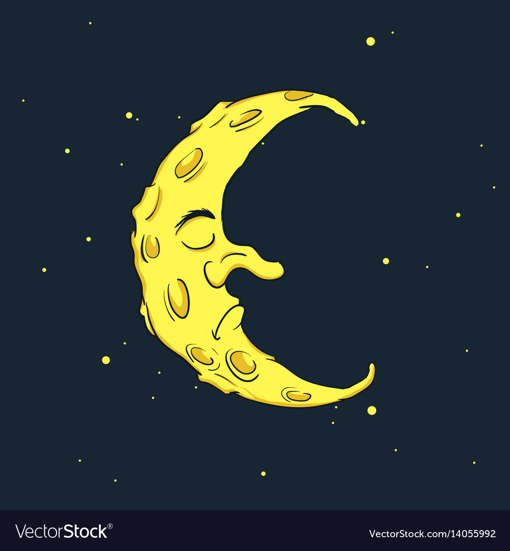 Sleeping crescent moon at the night sky vector image