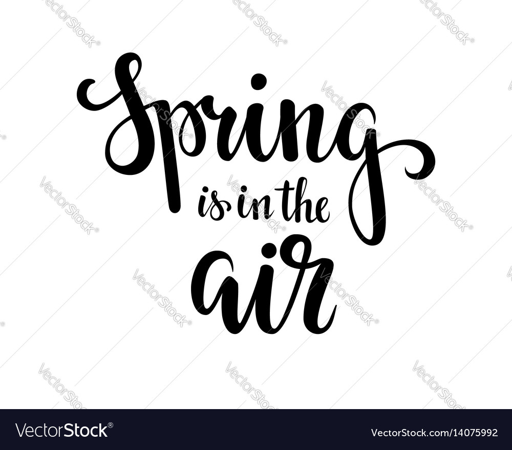 Spring is in the air hand drawn calligraphy and vector image