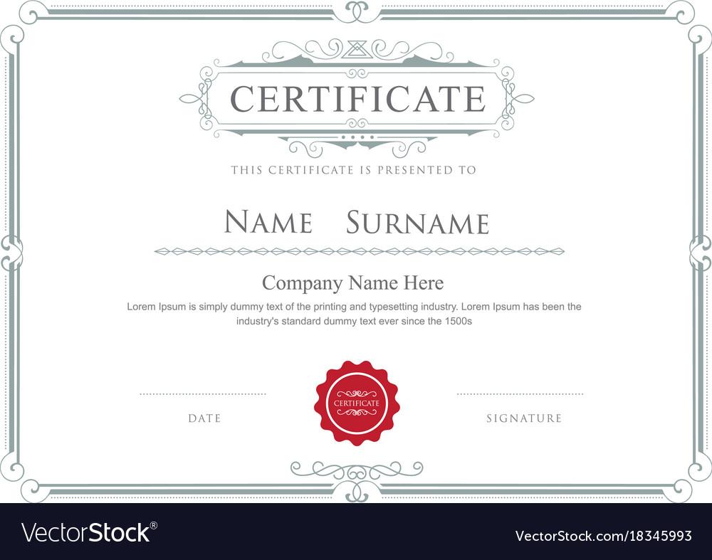 Certificate border elegant flourishes template vector image yadclub Choice Image