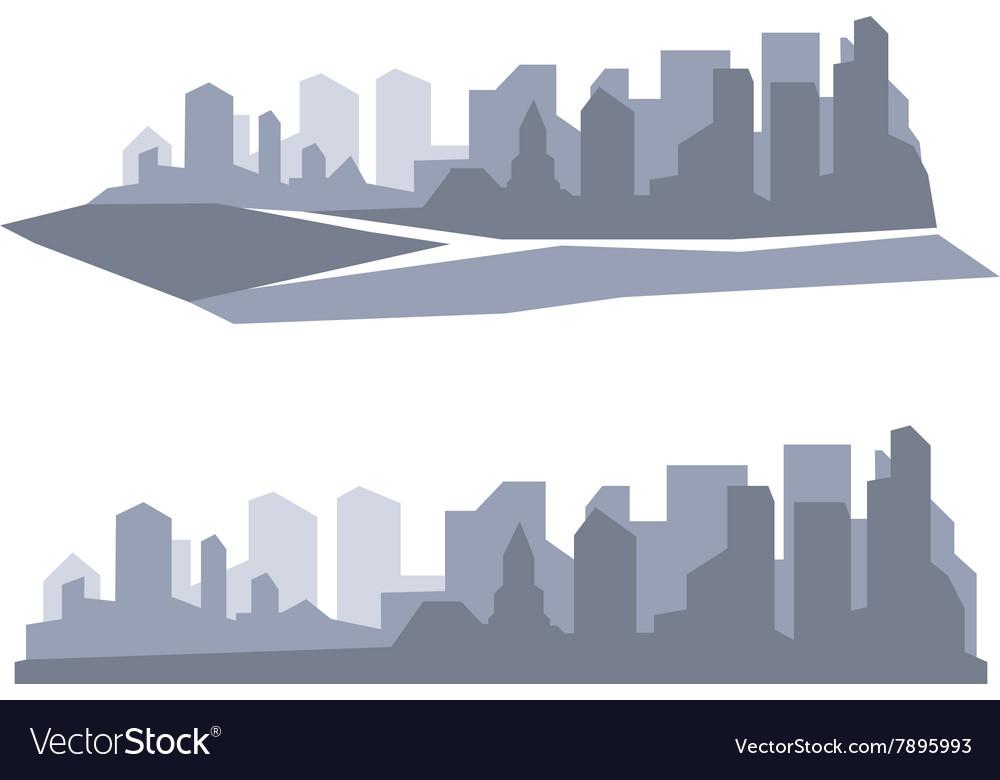 Flat megapolis panorama background vector image