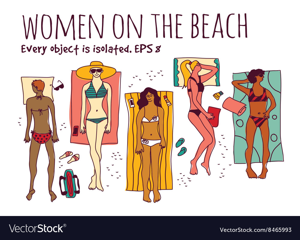 Group women in vacation isolate white set vector image
