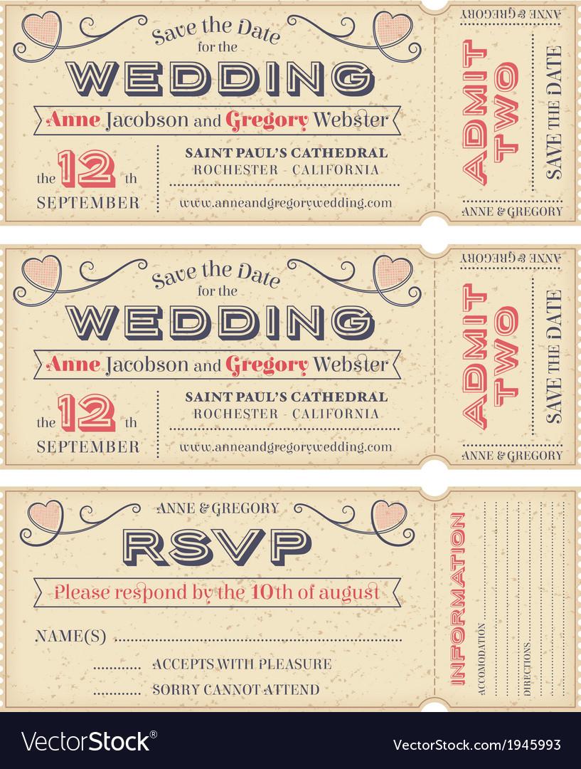 Wedding Invite Tickets vector image