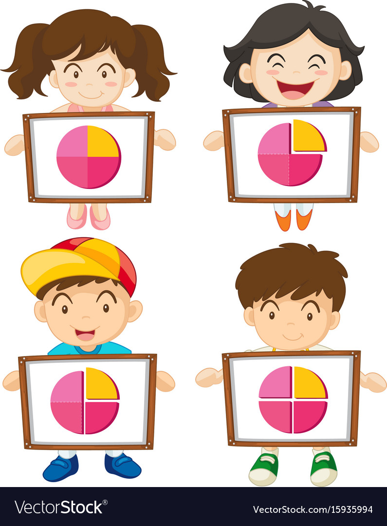 Four kids holding sign with piecharts vector image