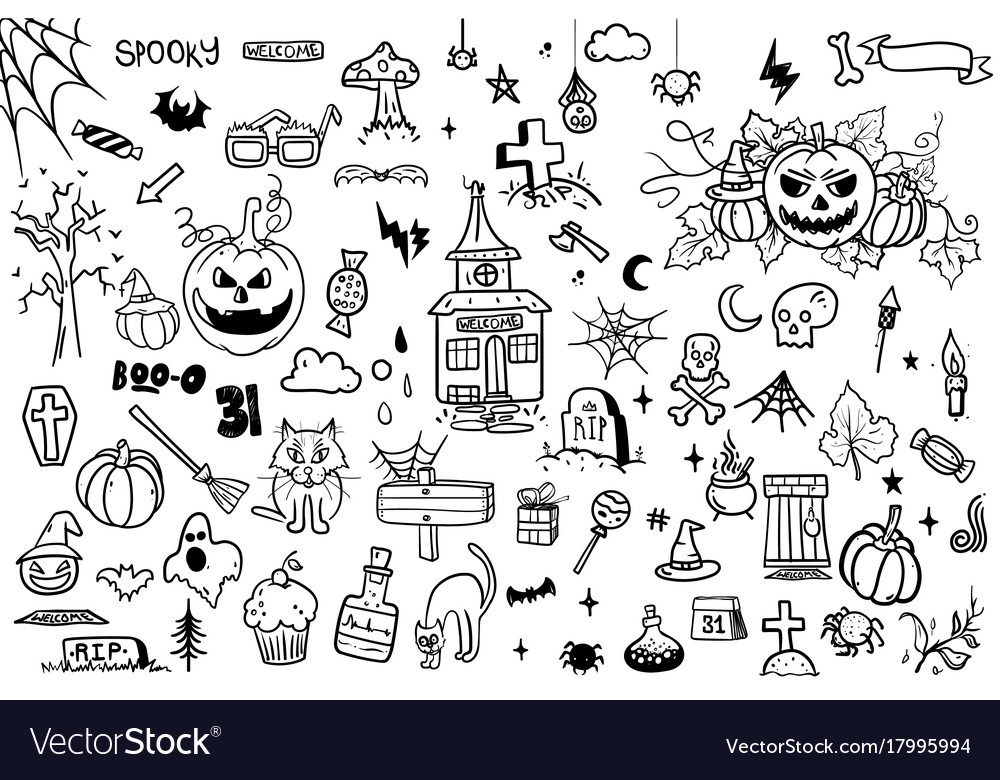 Halloween doodle set on white background creative Vector Image