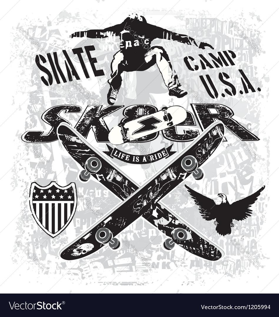 Usa skate camp vector image