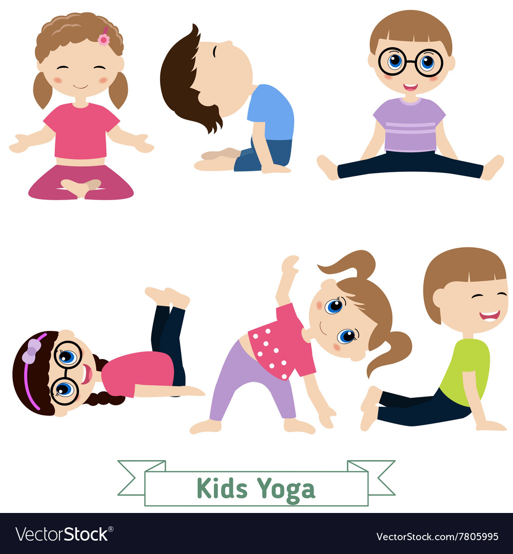 Children yoga vector image