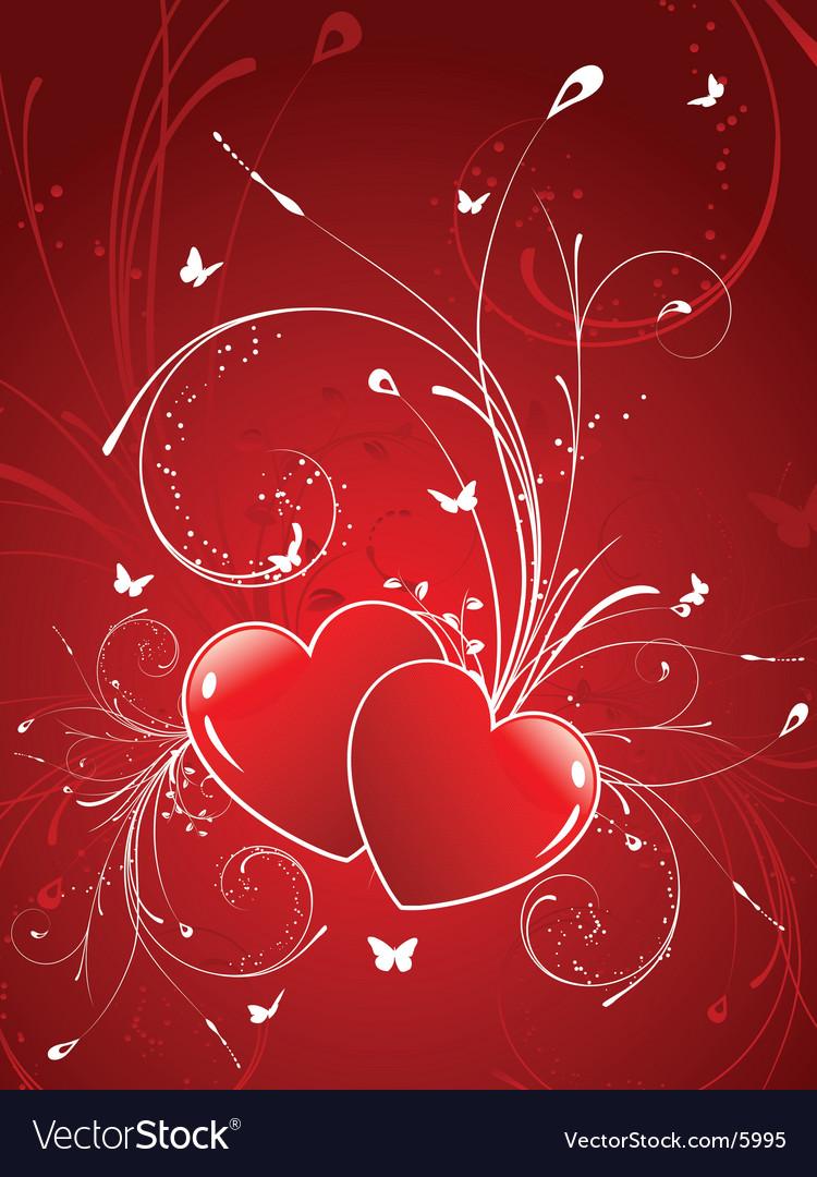 Decorative hearts vector image