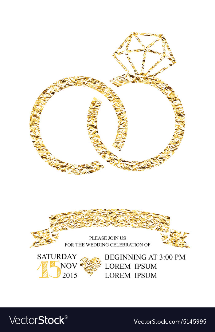 Wedding invitations with gold glitter texture ring wedding invitations with gold glitter texture ring vector image stopboris Images