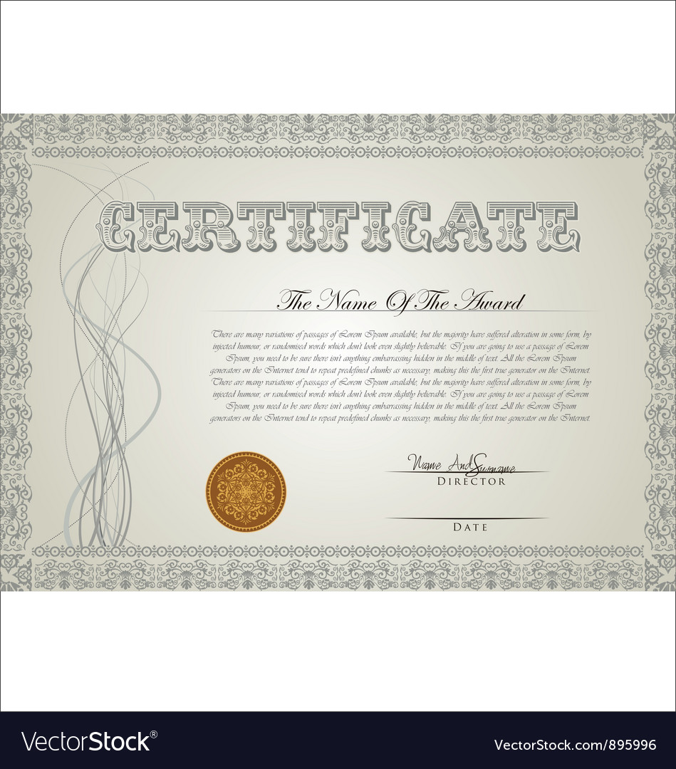 Certificate template royalty free vector image certificate template vector image yelopaper Choice Image