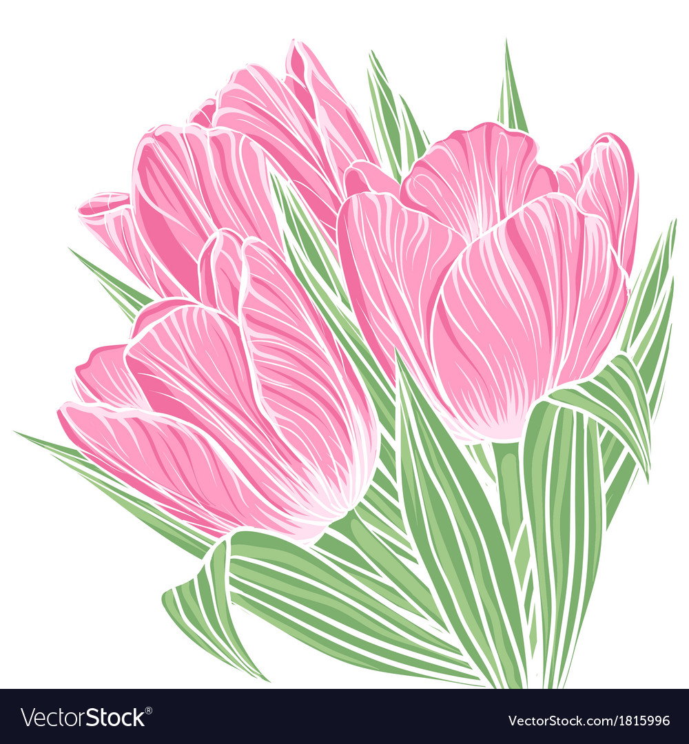 Floral background with flowers of tulips vector image