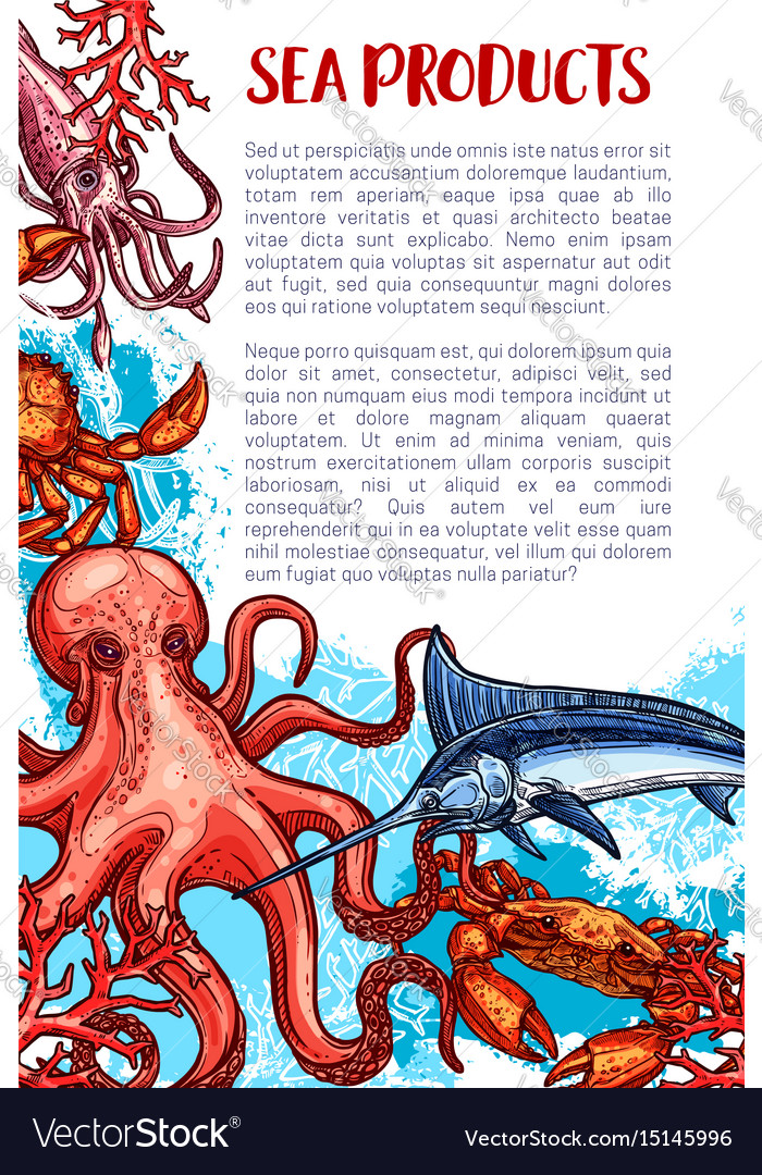 Seafood and fish sea product market poster vector image