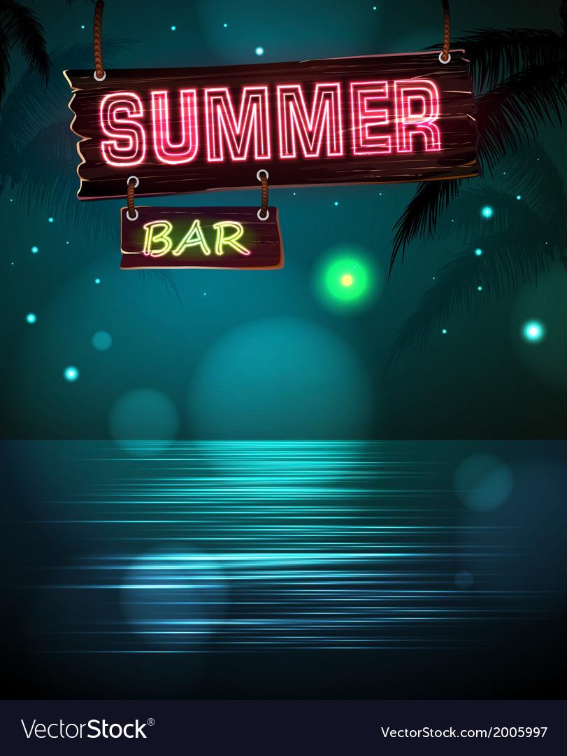 Summer disco background Disco poster vector image