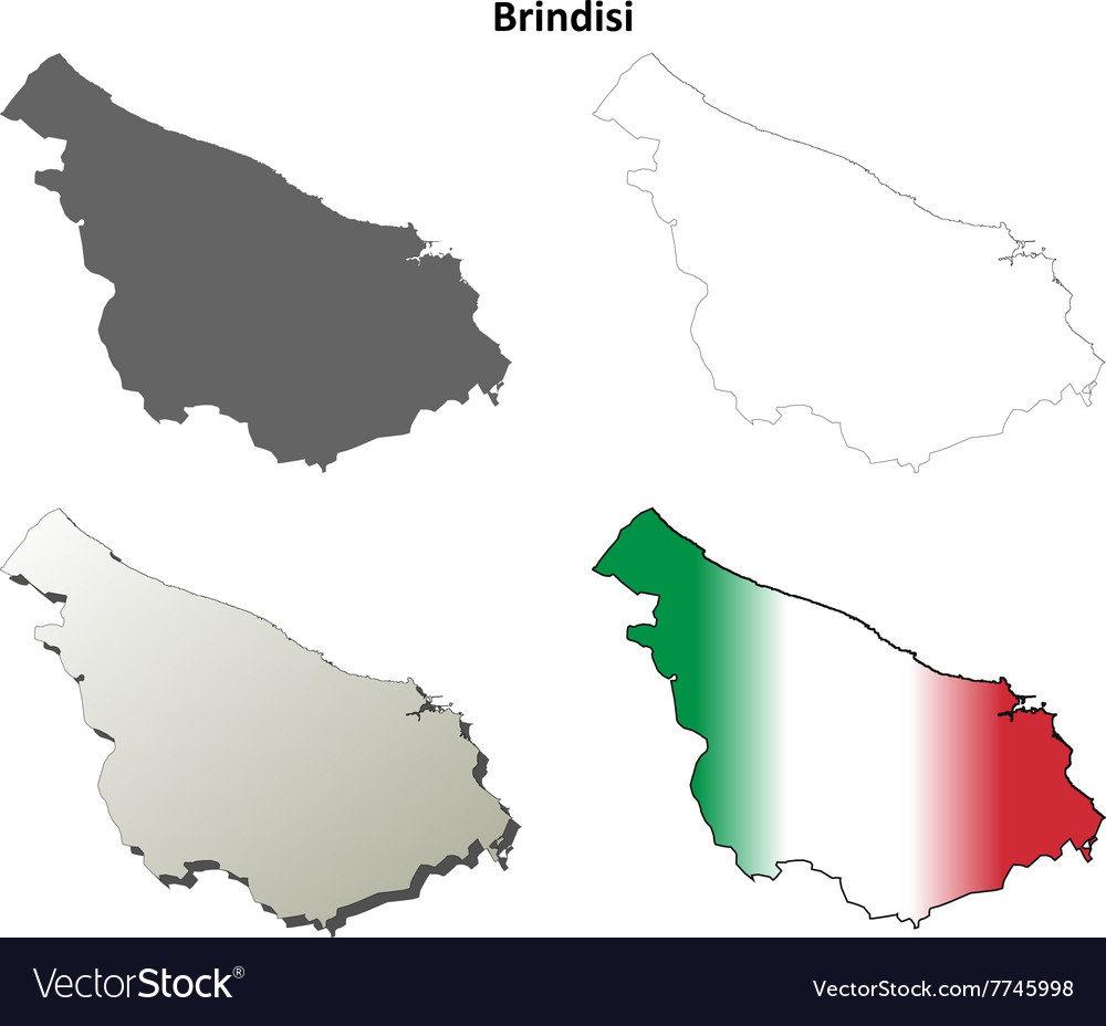 Brindisi blank detailed outline map set Royalty Free Vector