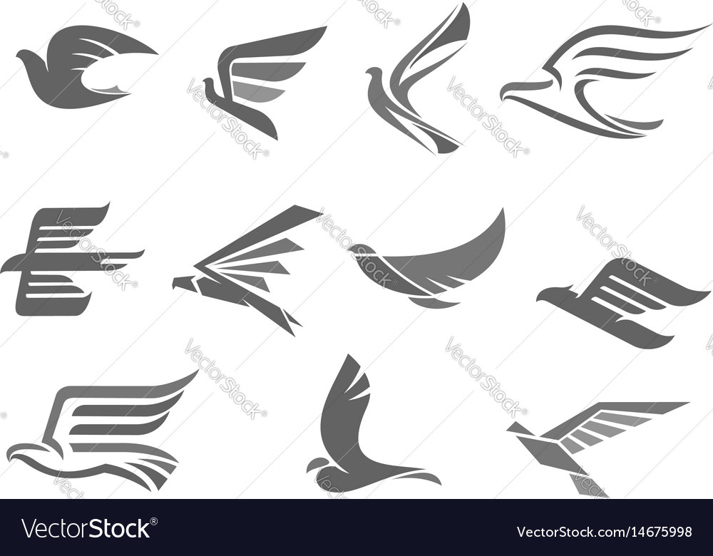 Icons of flying birds and wings vector image