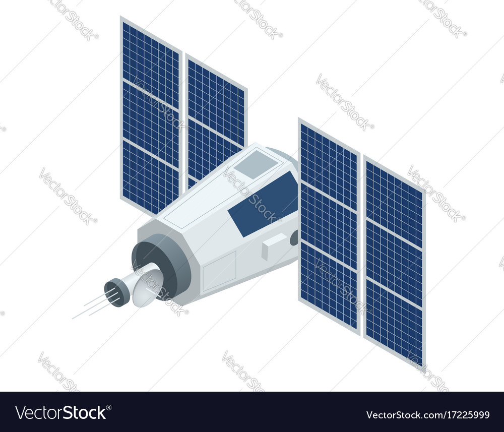 Gps satellite flat 3d isometric vector image
