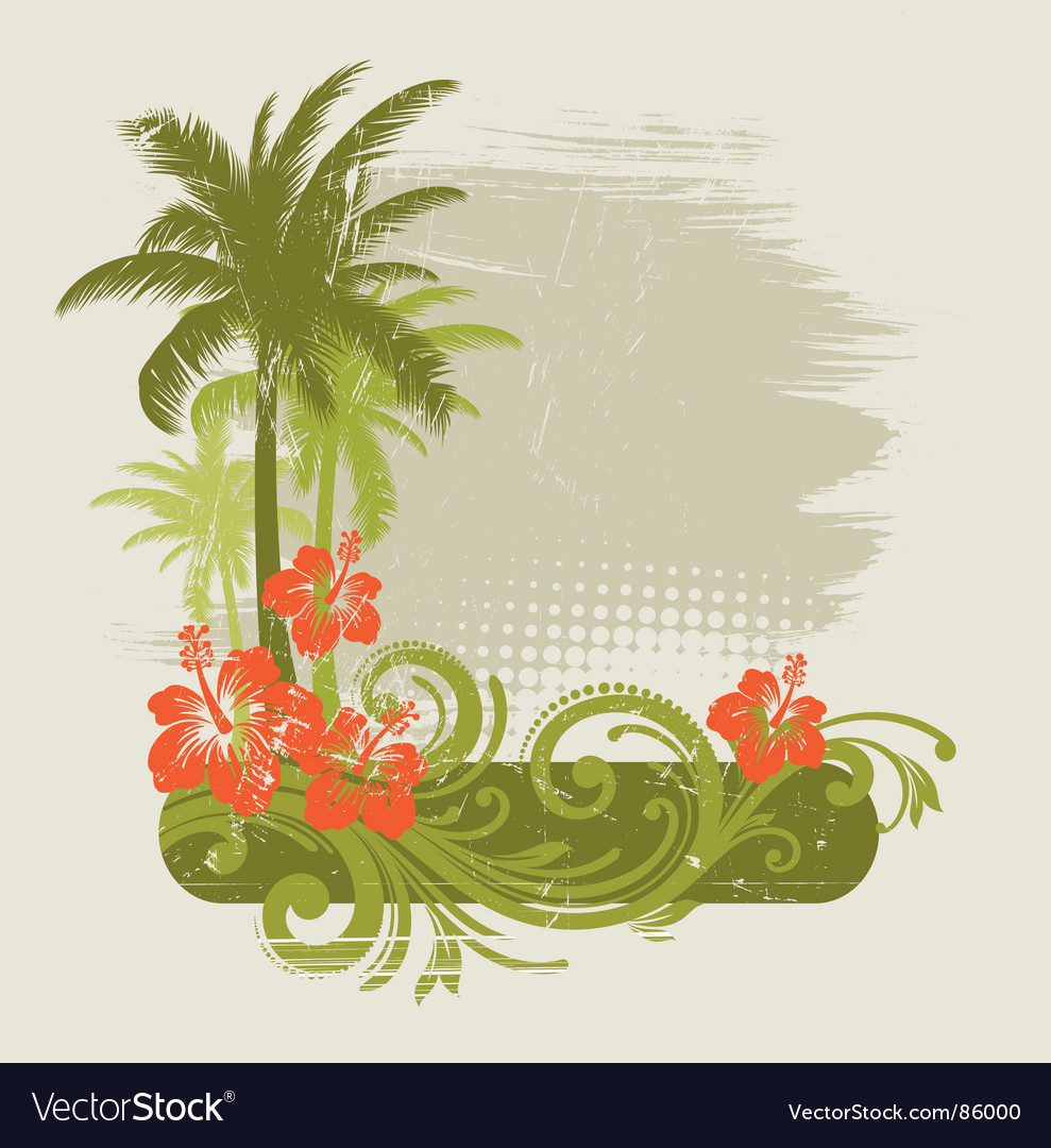 Hibiscus with ornament and palms vector image