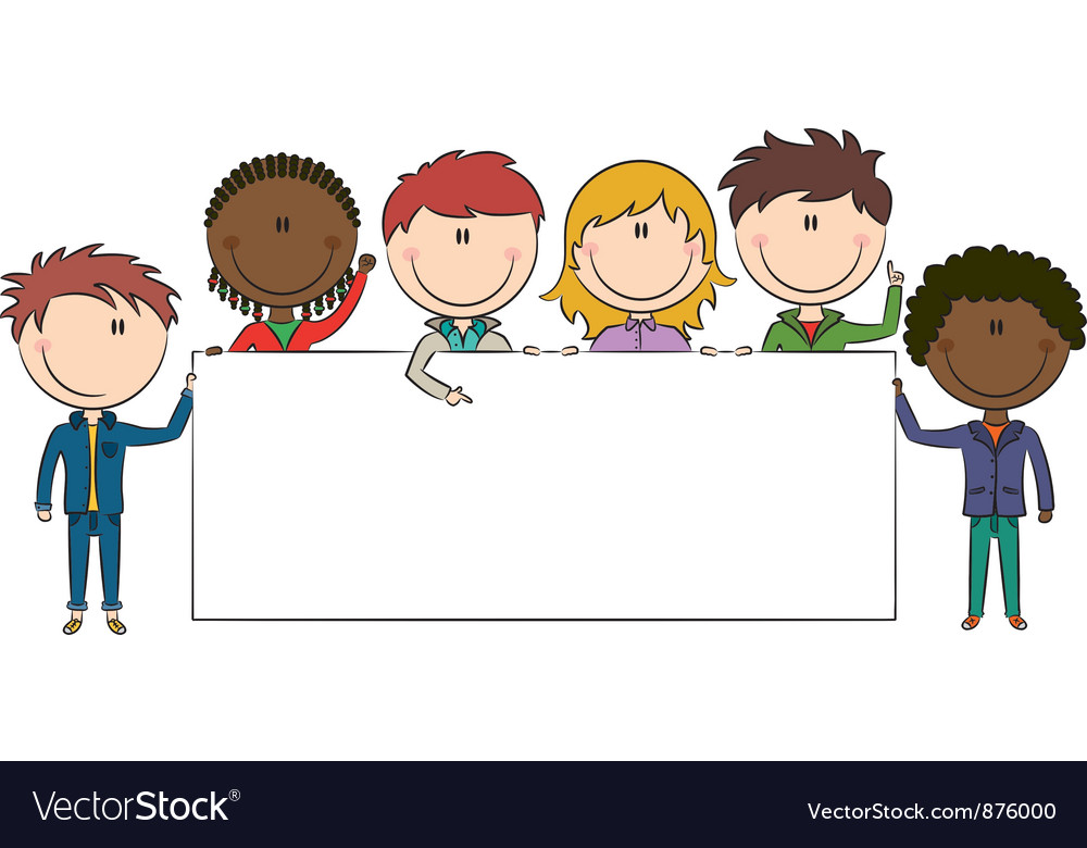 Kids Holding Banner Vector Image By Dobric
