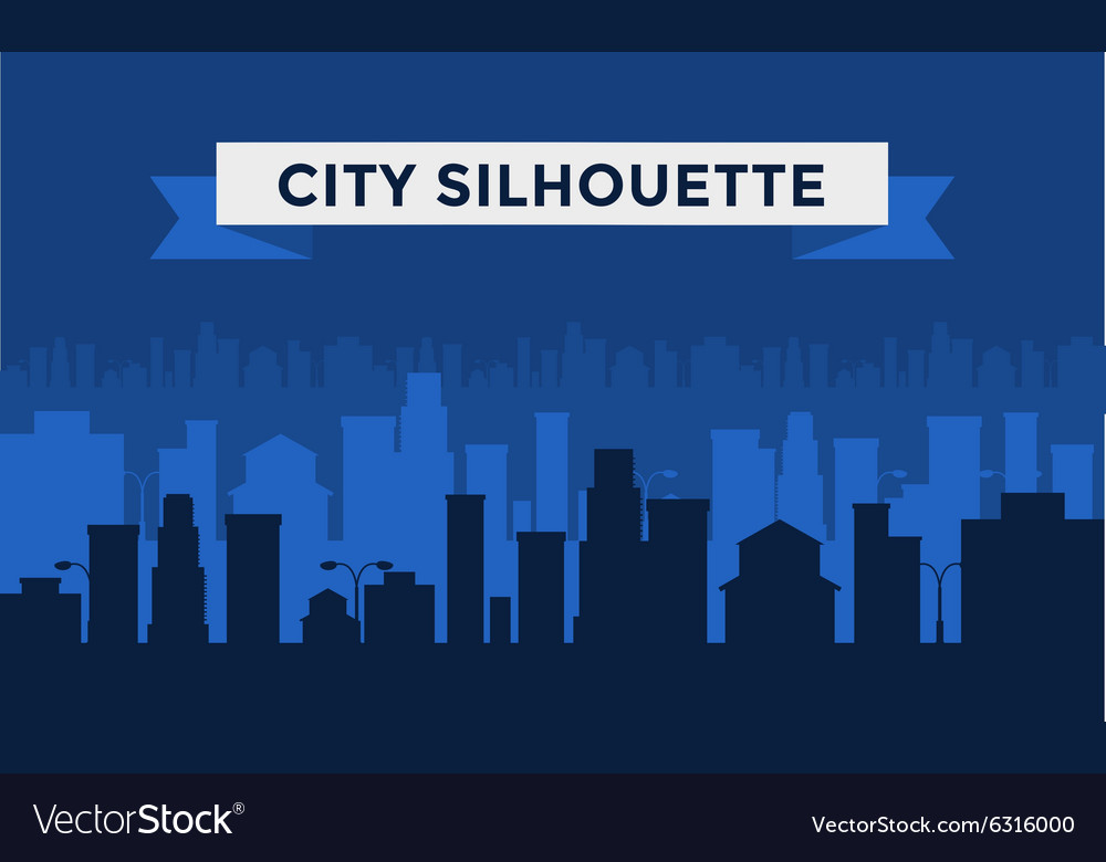 Black and white cities silhouette vector image