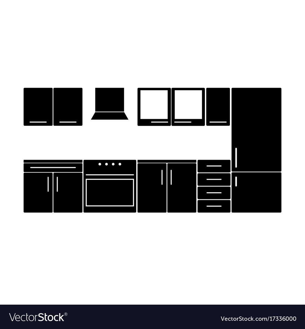 Kitchen furniture in black color vector image