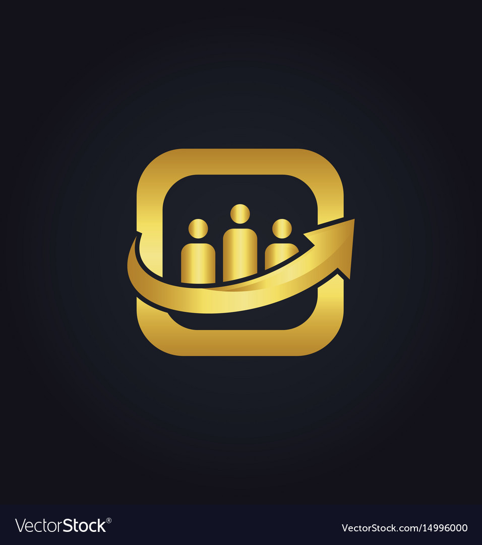 People employee business arrow gold logo vector image