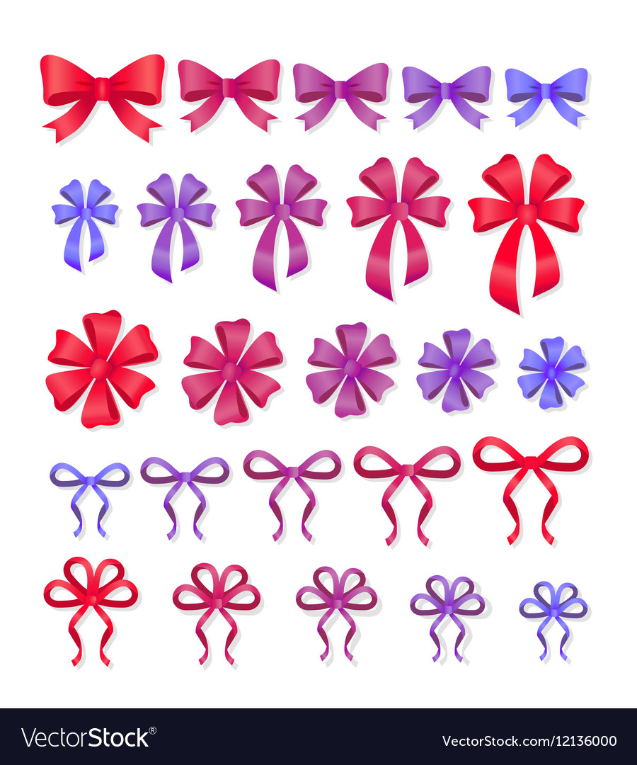 Set of decorative bows gift ribbons present decor vector image negle Image collections