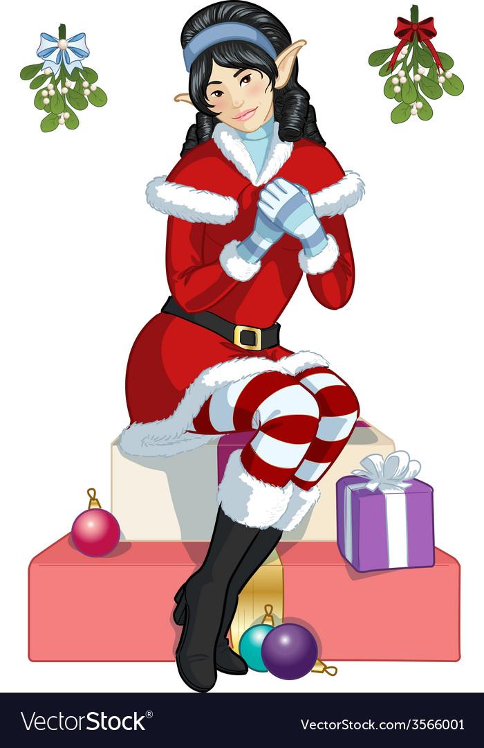 Christmas elf Asian girl with mistletoe cartoon vector image