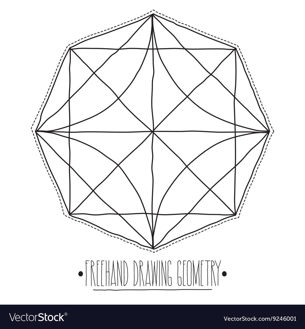 Hollow core geometric figures and elements with vector image