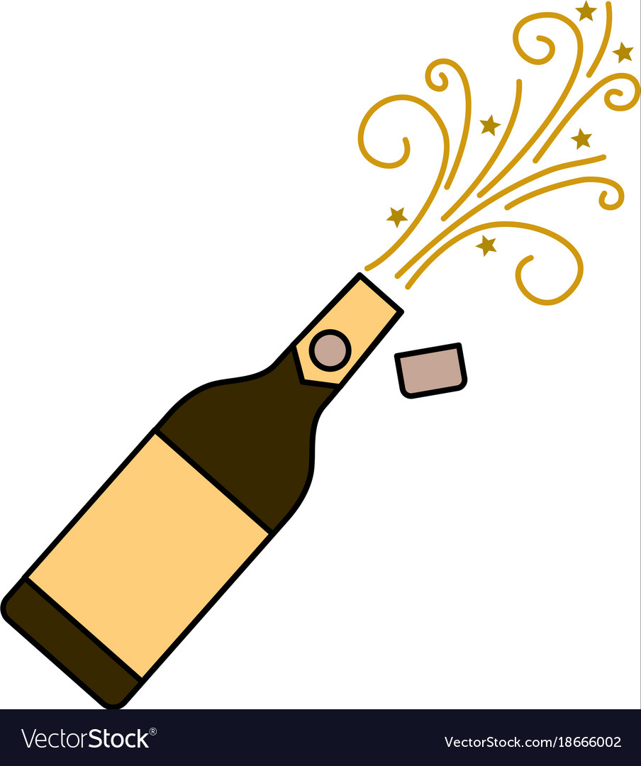 Champagne bottle explosion drink celebration vector image