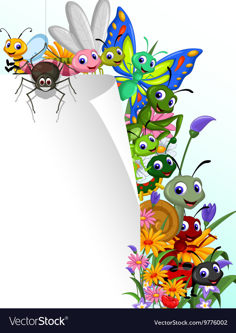 Collection of insects with blank sign in the flowe vector image