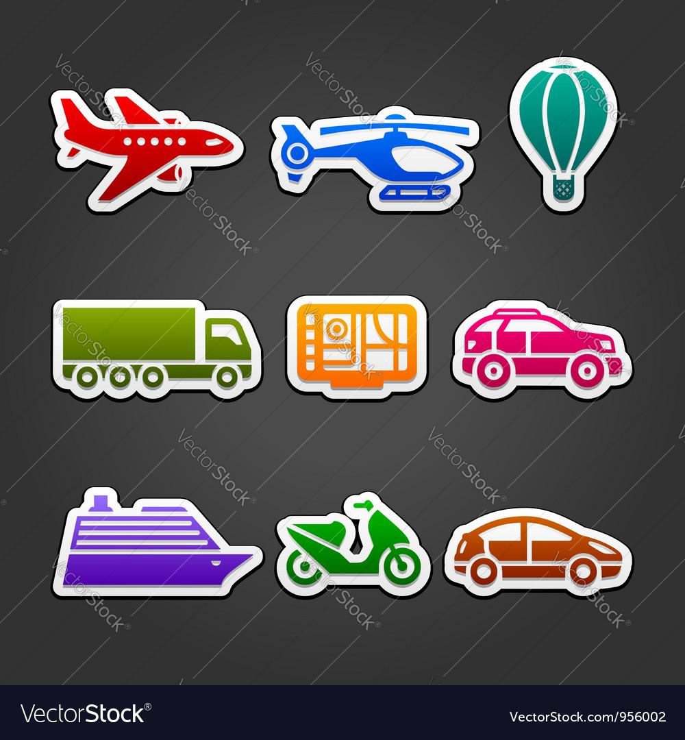 Set stickers color transport vector image