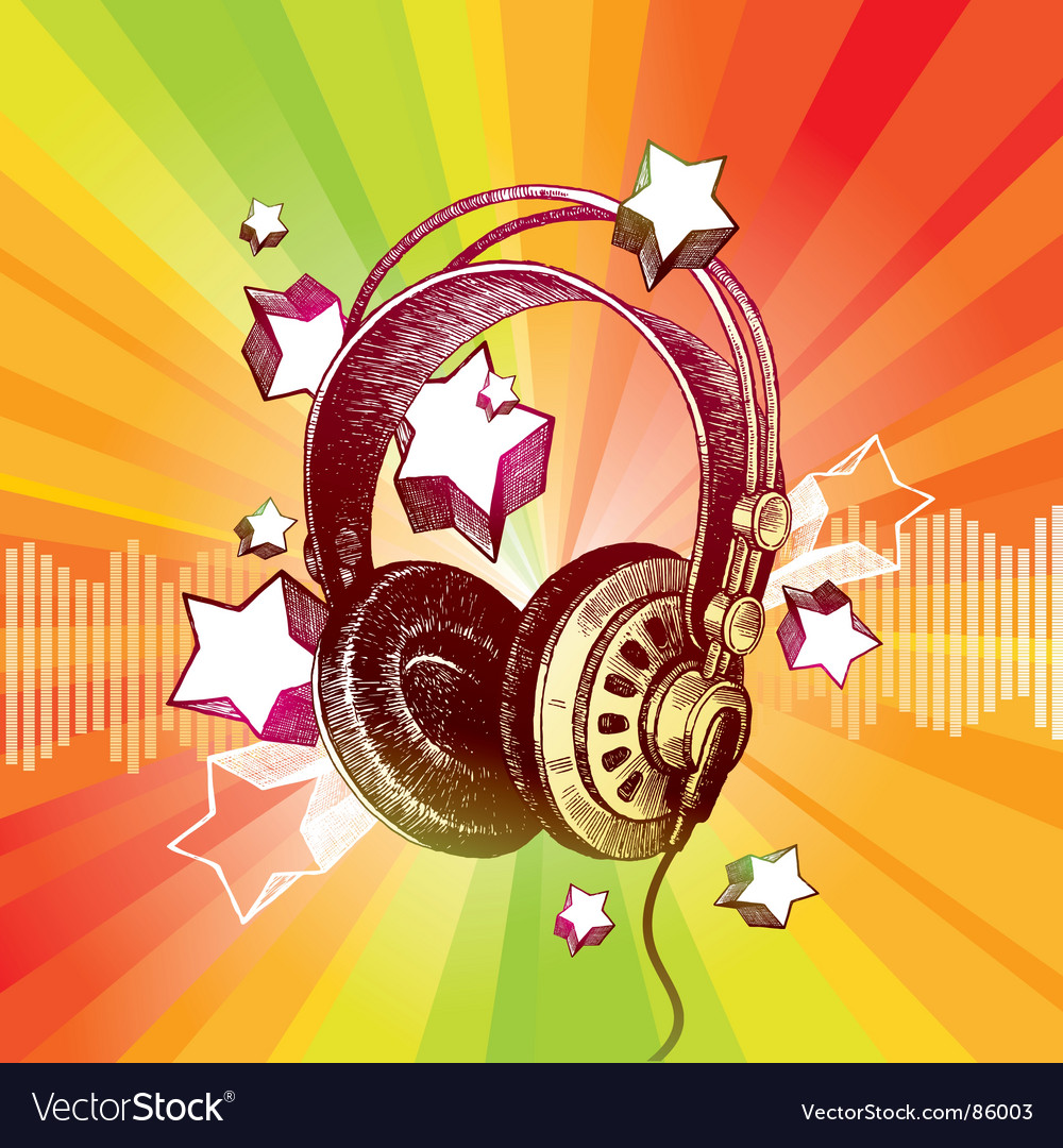 Headphones and stars vector image