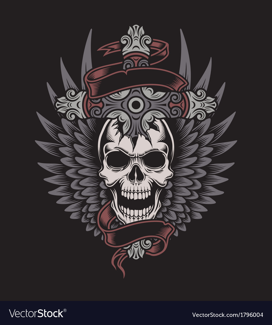 Winged skull with cross vector image