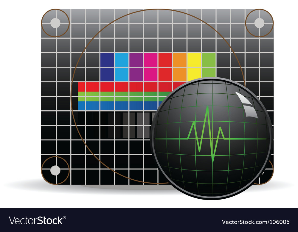 Television test chart with oscillograph Vector Image