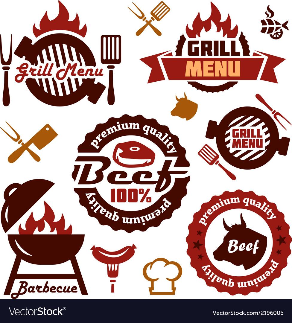 Grill menu design elements set vector image