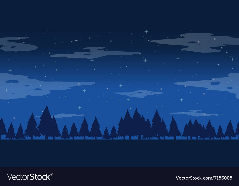 Seamless pine trees at night vector image