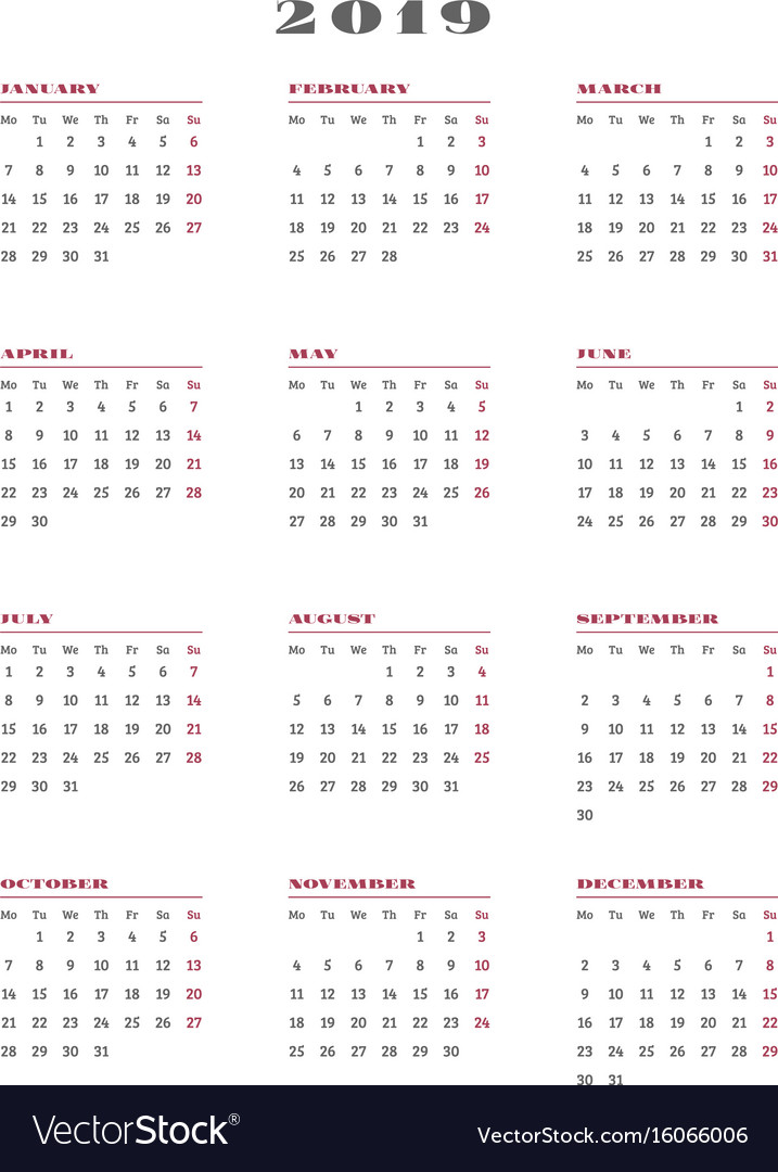Year Calendar Starting : Calendar for year week starts monday vector image