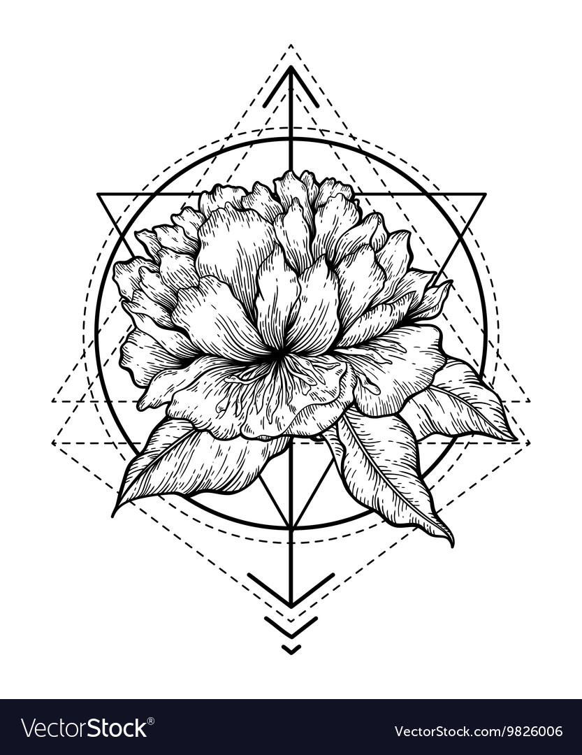 Abstract floral tattoo vector image