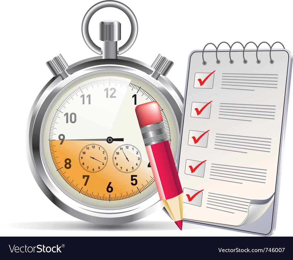 Clock and notepad vector image
