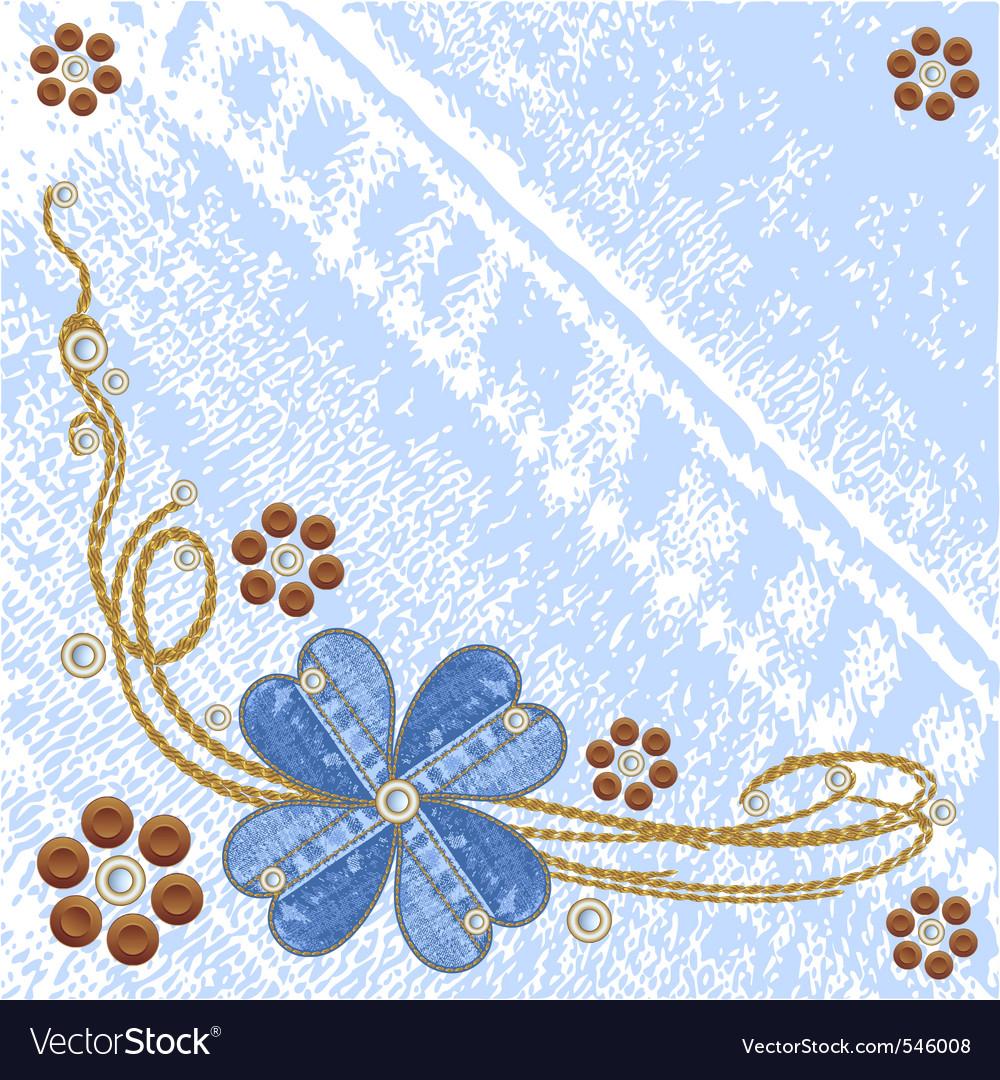 Denim floral jeans background vector image