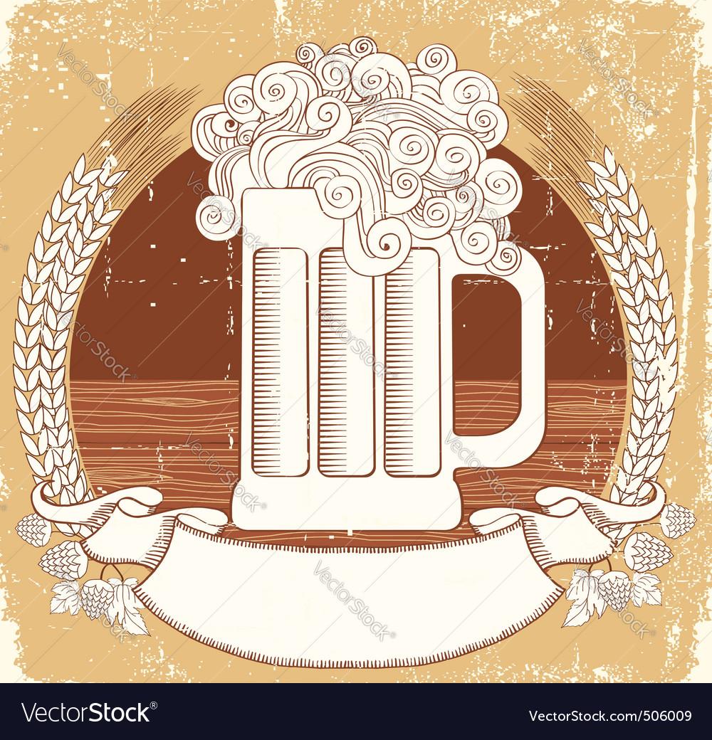 Beer symbolvector vintage graphic illustration of vector image
