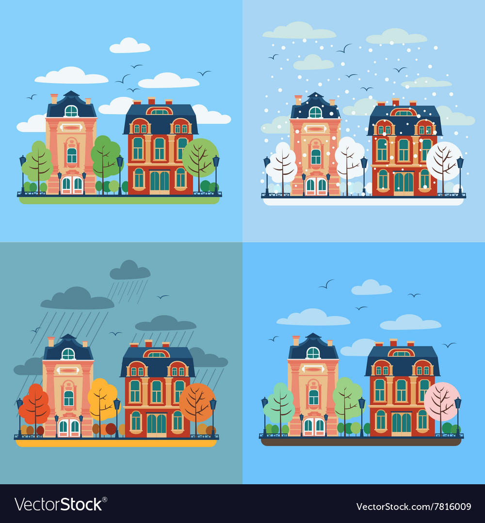European City Urban Landscape with Vintage Houses vector image