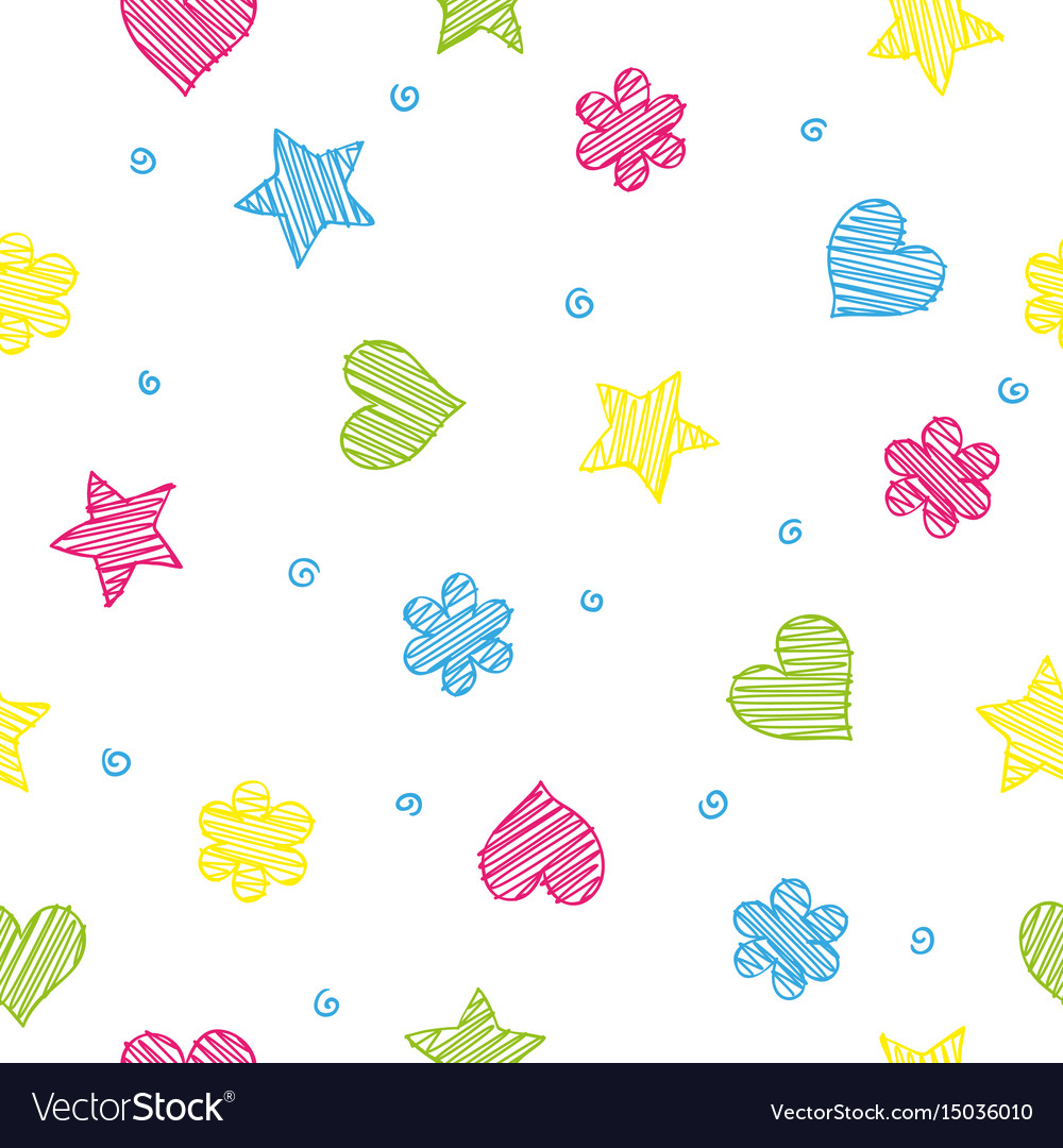 Colorful shapes - heart flower and star seamless vector image