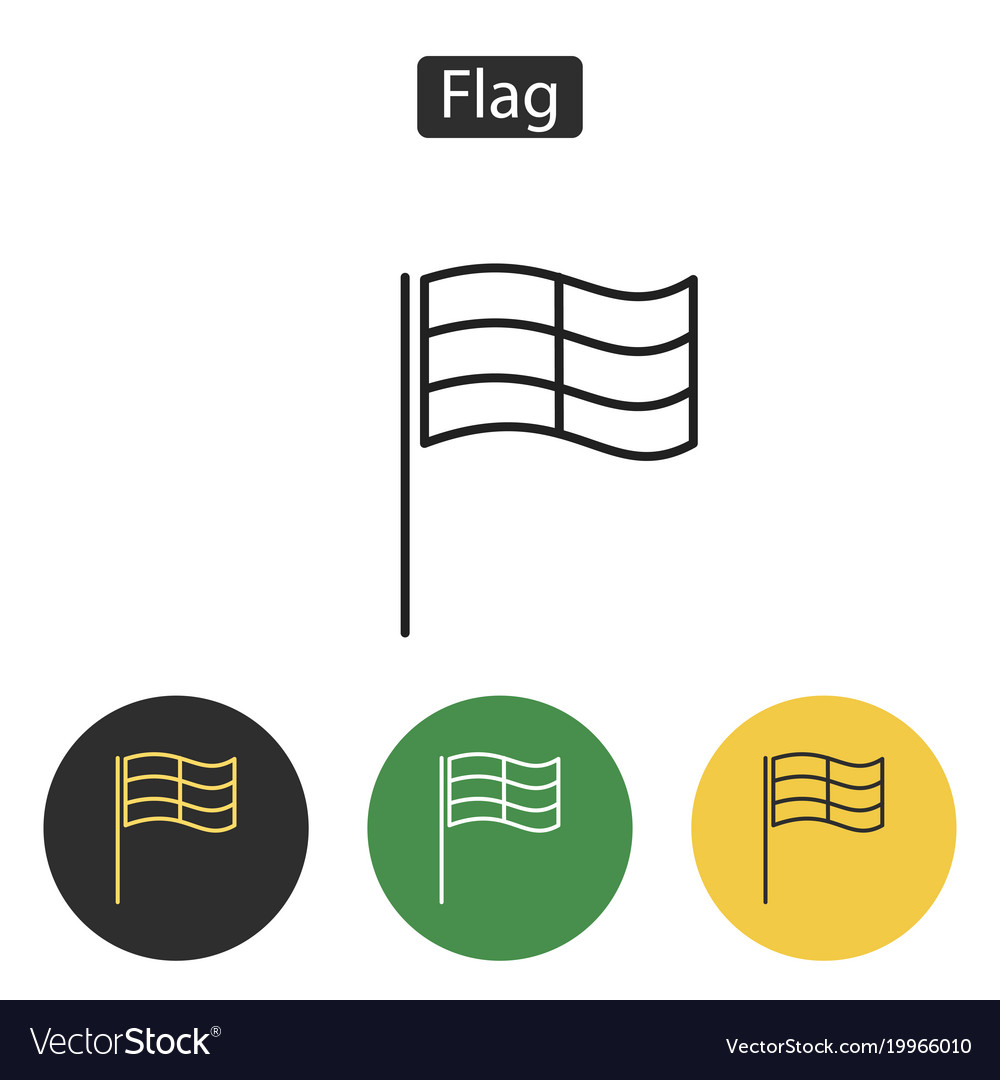 Competition sport flag line icon vector image