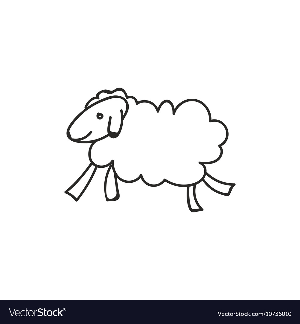 doodle sheep animal icon vector image