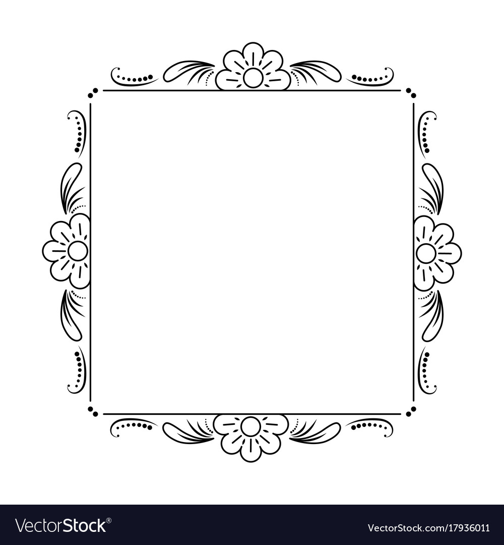 Classic black frame with flowers vector image