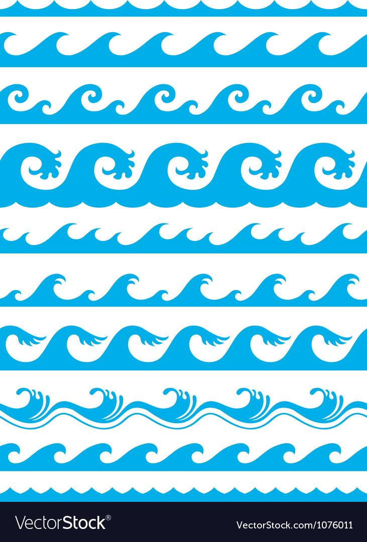 Seamless ocean wave set vector image