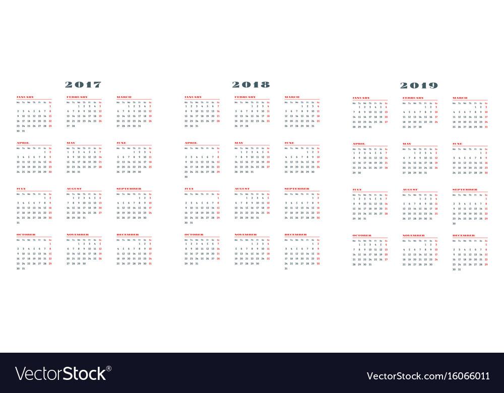 Set of calendars for 2017 2018 2019 years week vector image